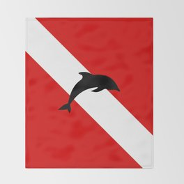Diving Flag: Dolphin Throw Blanket