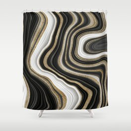 Gold And Black Agate Gemstone Shower Curtain