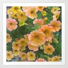 Peach and Pink Petunias Art Print