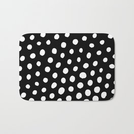 White Dots with Black Background Bath Mat