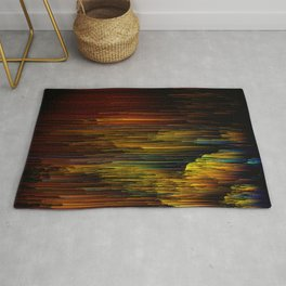 Rainbow Rain Glitches - Abstract Pixel Art Rug