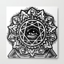 Eye of God Flower Metal Print