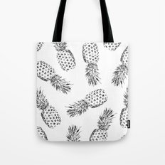 Pineapples Black and White Tote Bag