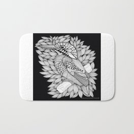 Zentangle Halcyon Black and White Illustration Bath Mat