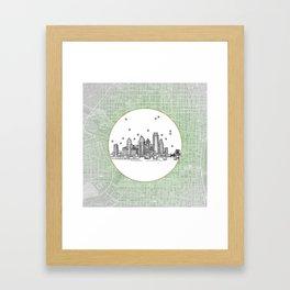 Philadelphia, Pennsylvania City Skyline Illustration Drawing Framed Art Print