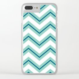 Teal & Blue Retro Zig Zags Clear iPhone Case