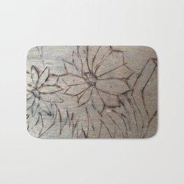 Flower wood burning Bath Mat