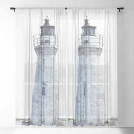Lighthouse Illustration Sheer Curtain