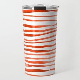Irregular watercolor lines - orange Travel Mug