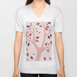BERRY TREE PINK Unisex V-Neck