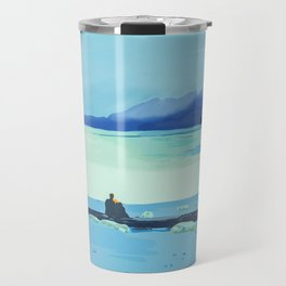 Romantic scene Conversation on the log Travel Mug