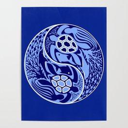 Yin Yang Marine Life Sign Classic Blue Monochrome Poster