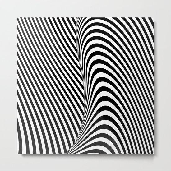 Black and White Pop Art optical illusion lines Metal Print