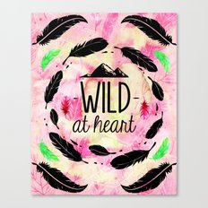 Wild at Heart - Boho Feathers and Mountain Canvas Print