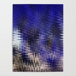 Blue Silver Modern Abstract Pattern Poster