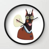 doberman Wall Clocks featuring Doberman by Holanes