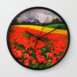 Poppies before the Storm Wall Clock