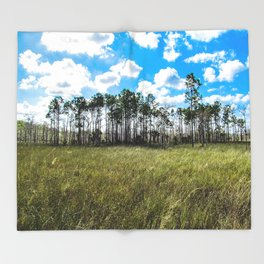 Cypress Trees and Blue Skies Throw Blanket