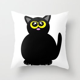 Black kitty Throw Pillow
