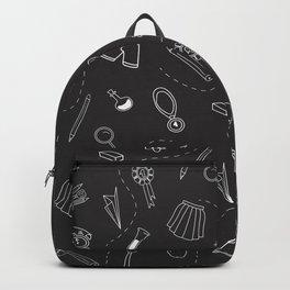 School pattern on white Backpack