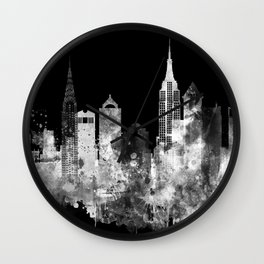 New York City Inverted Watercolor Skyline Wall Clock