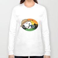 snoopy Long Sleeve T-shirts featuring Safari Snoopy by Yildiray Atas