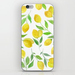 Watercolor Lemons Botanical Pattern iPhone Skin