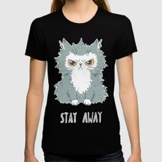 Stay Away Black SMALL Womens Fitted Tee