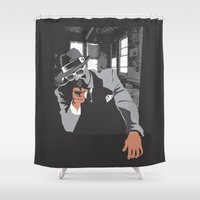 gangster Shower Curtains featuring The Gangster by Dulevartiano