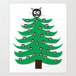 Catmas Tree Cats on Christmas Tree Art Print