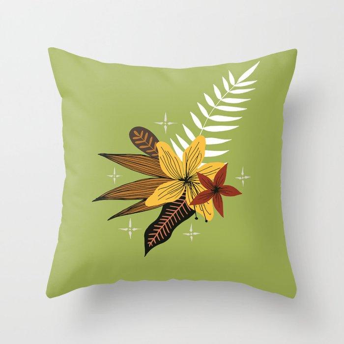 tropical bouquet on green Throw Pillow