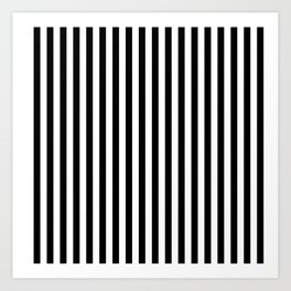 Black and White Pin Striped Pattern Art Print