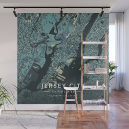 Jersey City, United States - Cream Blue Wall Mural