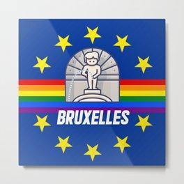 Brussels Bruxelles Lgbt gay pride season rainbow flag  Metal Print