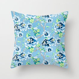 Chinoiserie Ming style Blue Floral Pattern Throw Pillow