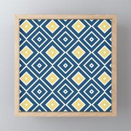 Pattern Abstrait Formes Carres Bleu/Jaune/Blanc Framed Mini Art Print