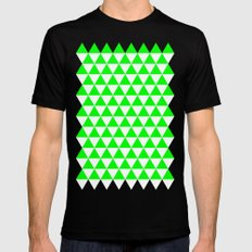 Triangles (Green/White) Mens Fitted Tee MEDIUM Black