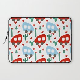 Camper Vans in Red and Blue with Green Cactus and Red Flowers Laptop Sleeve