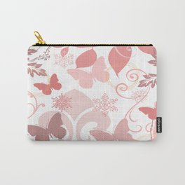 Pink Butterflies Vintage Look Print Carry-All Pouch