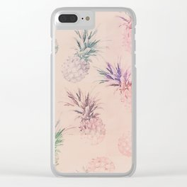 Soft Pastel Pineapple Summe Pattern Clear iPhone Case