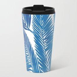 Palm tree leaves-blue Travel Mug