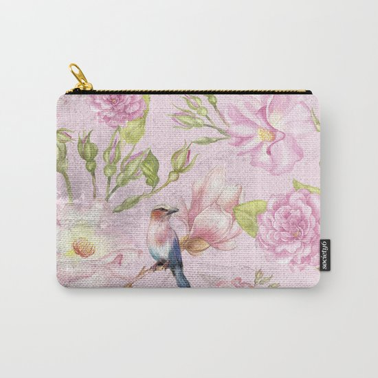 Floral painterly background in pink with Roses Flowers and Birds Carry-All Pouch