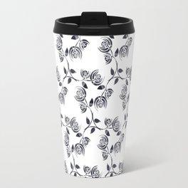 Black and White Abstract Poppy Travel Mug