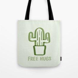"""Free Hugs"" Cactus Illustration Green Tote Bag"