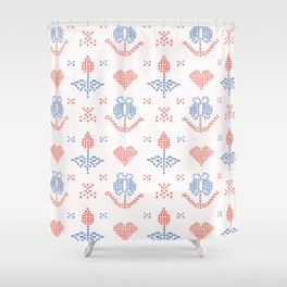 Hand Drawn Embroider Tulip Stitches Seamless Vector Pattern Cross Stitch Shower Curtain