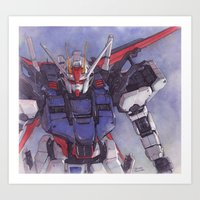 gundam Art Prints featuring Strike Gundam by Hector Trunnec
