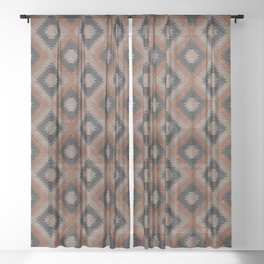 aztec neutrals - inkwell & taupe Sheer Curtain