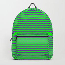 Purple Pinstripe Design On Green Background Backpack
