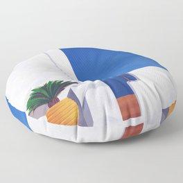 Beyond the White Wall - Santorini, Greece - Minimal Travel Print - Romantic Coastal Vibes Floor Pillow