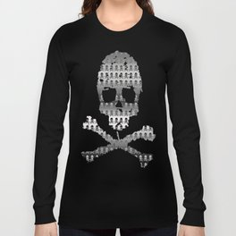 Skull and XBones - Smaller: Metal and Slight Pink Long Sleeve T-shirt